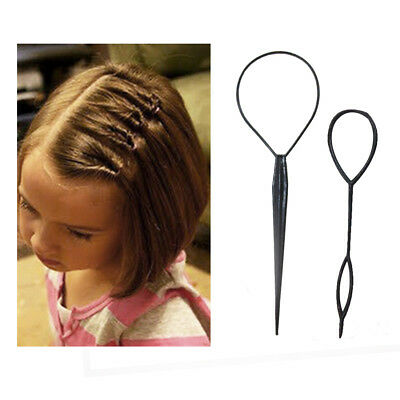 2 PCS Ponytail Creator Plastic DIY Hair Styling Black Bands For Girls Headbands