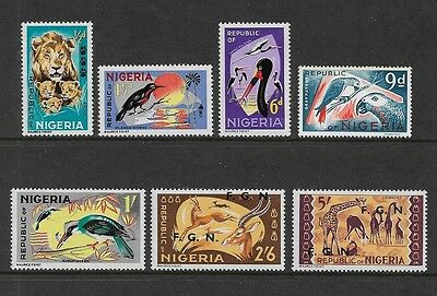 NIGERIA - 1965 issue, Animals & Birds, part set, some with FGN opt, mint