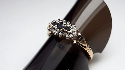 Gold Ring: 9ct Antique Three Stone Cluster Sapphire/Diamond Ring - Size O