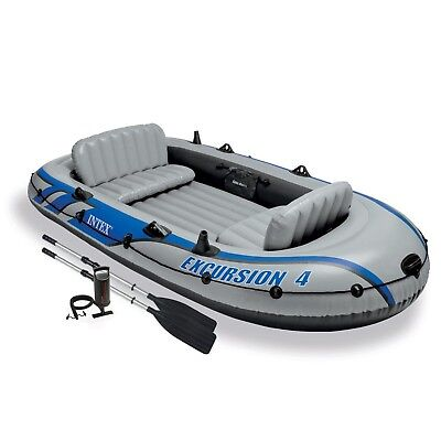 Intex Excursion 4 4-Person Inflatable Boat Set with Aluminum Oars and High Ou...
