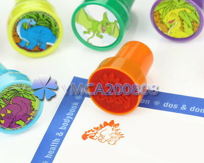 Lot 6 Dinosaur Pattern Ink Stampers Teacher Supply Party Favors Art Craft Stamps