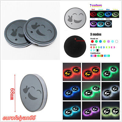 2 Pcs RGB LED Waterproof USB Car Interior Cup Holder Bottom Pad Atmosphere Light