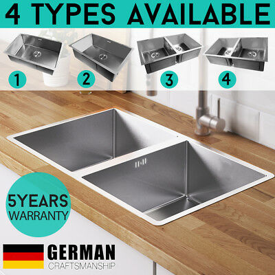 304 Stainless Steel Kitchen Sink Under/Topmount Laundry Handmade Single Double