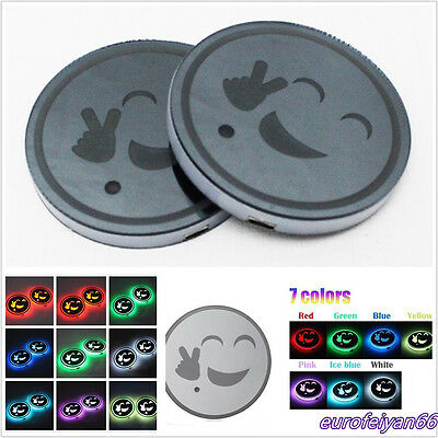 2 Pcs ABS 7-Color LED USB Car SUV Cup/Bottle Holder Bottom Pad Lights Cover Trim