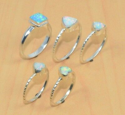 Wholesale 5Pc 925 Solid Sterling Silver Ethiopian Opal Nice Ring Lot