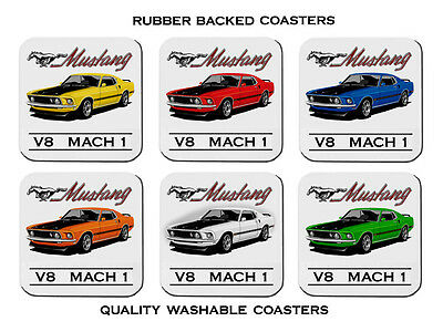69'  Mustang Mach 1   V8  Coupe       Set Of  6  Rubber Drink  Coasters