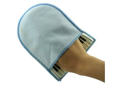 Super soft cotton piano cleaning polishing mitten cloth blue colour free postage
