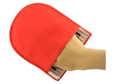 Super soft cotton piano cleaning polishing mitten cloth red colour free postage