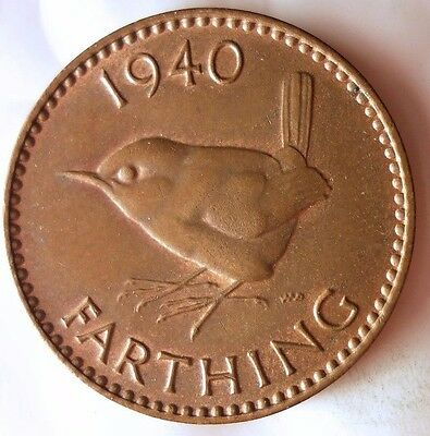 1940 GREAT BRITAIN FARTHING - AU - Great WW2 Era Coin - FREE Ship - Bin #EEE