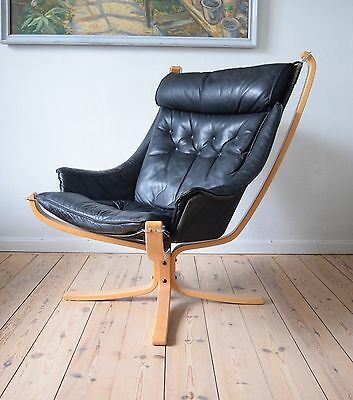 Mid-Century Black Winged Falcon Chair by Sigurd Ressell for Vatne Møbler, 1970s