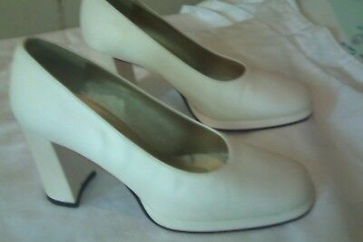 Off White Satin Shoes Size 8