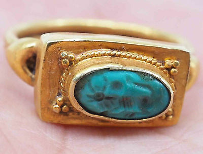 Wonderful Ancient Turquoise Bull Lovely 23K Solid Gold Ring #SH351