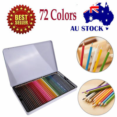 72 Pcs Water Color Soluble Drawing Art Sketching Non-toxic Pencil Mental Box AU