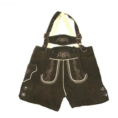 German Traditional Leather Trousers Boys short dark brown Size 68 - 164