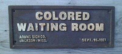 Black Segregation Sign COLORED WAITING ROOM -  Cast Iron