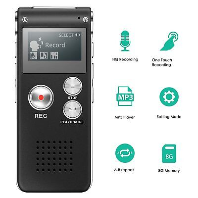 8GB New USB Digital Sound Voice Recorder Dictaphone MP3 Player Rechargeable OZ