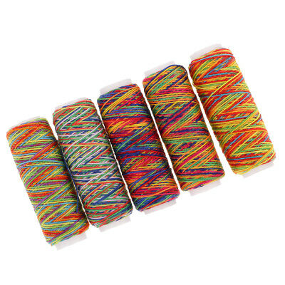 5pcs Rainbow Sewing Thread for Embroidery Machines Leather Bag Shoes Canvas