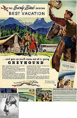 GREYHOUND HIGHWAY TOURS * The best Vacation *  US-ADVERTISING 1947