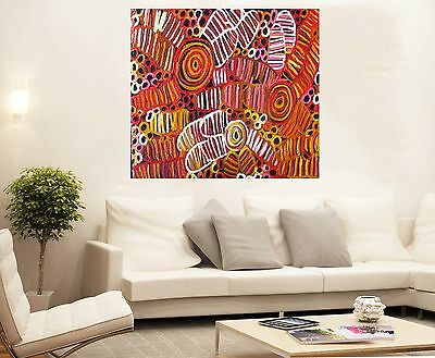 "Aboriginal Oil Art Painting By jane wichetty grubs 32"" COA Australia abstract"