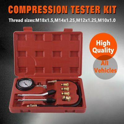 Petrol Engine Compression Tester Test Tool Set Kit Gauge Car Valve Motorcycle
