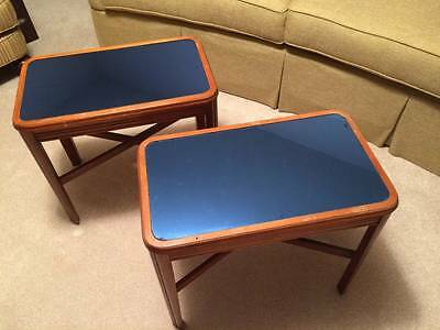Pair of Vintage Art Deco Blue Mirror Glass End Tables