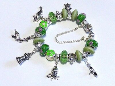 Ladies Girls European Charm Bracelet. Lighthouse Pelican And Manatee Charms.