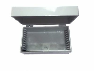 Microscope Slide Box for 10 Slides - Tough Plastic with Hinged Lid - ID 6097