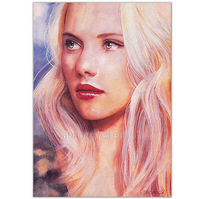 "ORIGINAL AQUARELL ""Voice carried on"" WATERCOLOR PORTRAIT GIRL SCARLETT JOHANSSON"