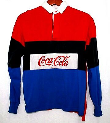 Vintage 80s Coca Cola Rugby Shirt Jersey Preppy Coke Size 36