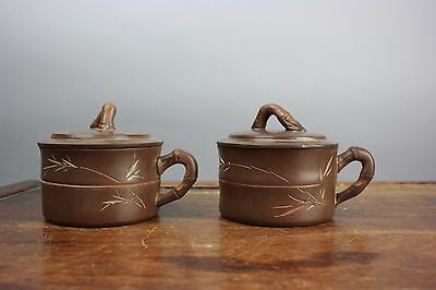 20th C. Chinese Pair Zisha Pottery Covered Cups