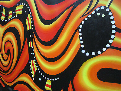 Huge Aboriginal Art Snake Abstract Australia By Jane Crawford Authentic COA