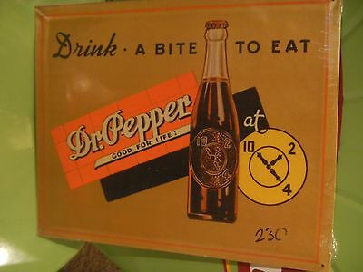 Dr Pepper Drink A Bite to Eat - Metal Sign