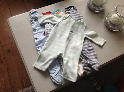 Baby boys sleepsuits age 0-3 months x5