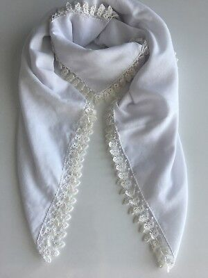 Turkish Anatolian Oya Scarf with Crochet Lace Handmade Square Cotton New