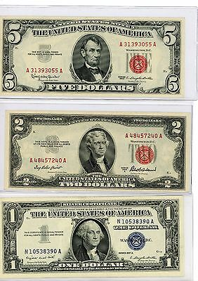 Collection Lot Of 3 Vintage Pieces Of U.s.a Currency Notes $1-$2-$5$ D