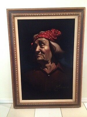 Vintage Velvet Painting Signed-Pueblo Indian?large-native American Portrait