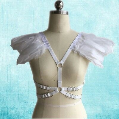 White Harness Bra Feather Detail Women