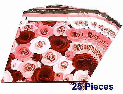 25 Polymailers Bags Designer 10x13 Pink & Red Roses Shipping Envelopes Boutique
