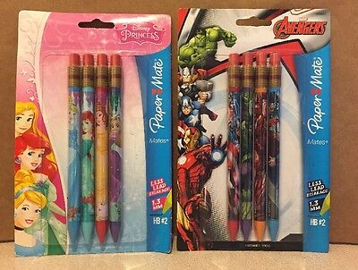 papermate mechanical pencil Lot Of 8. 4 Disney 4 Marvel Avengers