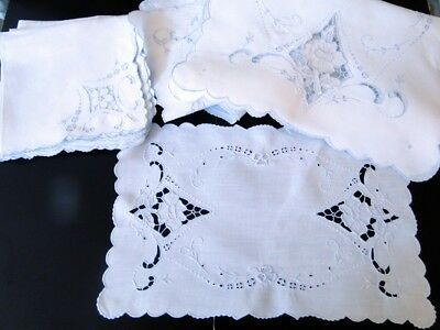 Antique Linens-Fine Linen Madeira Placemat Set W/embroidery