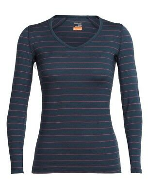 Icebreaker Oasis Longsleeve V Women Baselayer Shirt V Ausschnitt nori heather