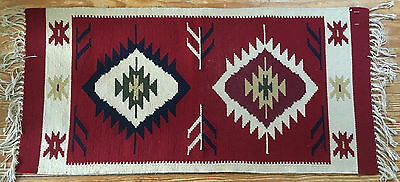 """Mexico Zapotec Indian wool rug  - 22"""" x 46"""" - excellent condition"""