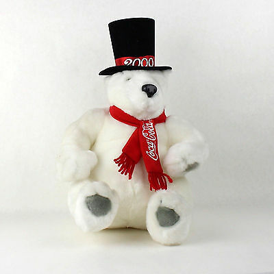 Coca Cola White Plush Polar Bear with Top Hat Year 2000 Red Scarf