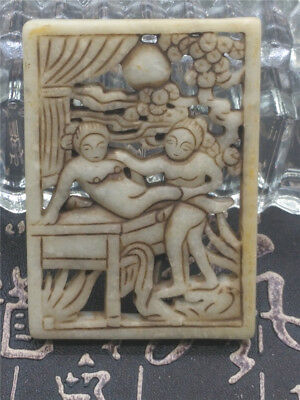 Old China Hand-carved jade belt buckle worn aristocratic art collection A073