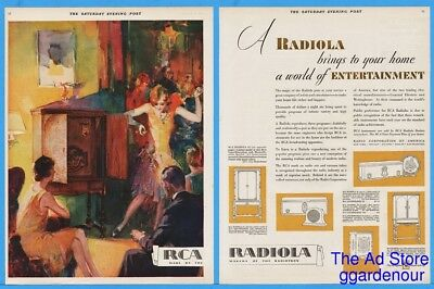 1929 RCA Radiola Console Tube Radio Flapper Girl Dancing Art Other Models Ad