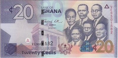 GHANA BANKNOTE P40c 20 CEDIS 1.5.2011 UNCIRCULATED USA SELLER