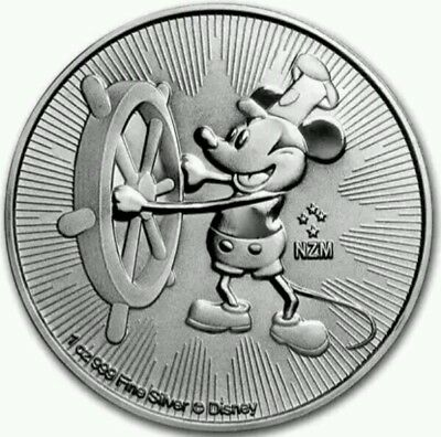 2017 New Zealand Steamboat Willie 1oz Silver Bullion Coin