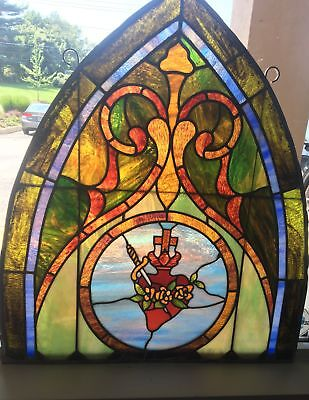 Antique Stained Glass Window Sacred Heart of Mary Salvage Church Arch Slag
