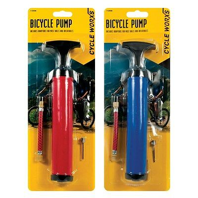 Bicycle Hand Pump With Adapters Bike Cycling Tyre Air Ball Inflator Convert 4pc