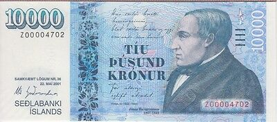 Iceland Banknote P#65-4702 10,000 Kronur -Replacement #z00004702 Uncirculated